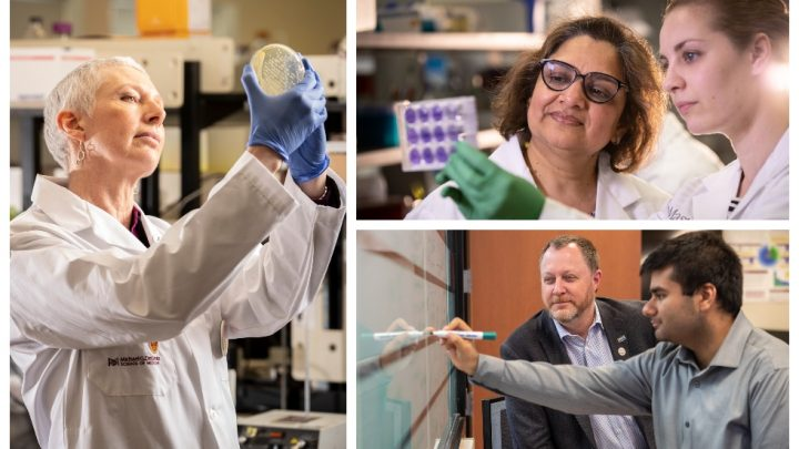 pictured left researcher Lori Burrows, pictured top right researcher Charu Kaushic, pictured bottom right researcher Andrew McArthur.